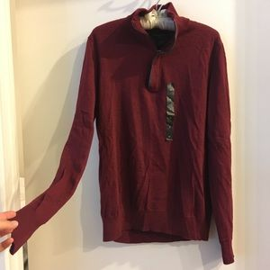 Men's Maroon Merino Wool Sweater